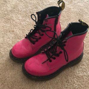 Girls Dr. Martens hot pink boots